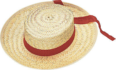 20'S STRAW VENICE GONDOLA GONDOLIER BOATER BARBERSHOP SAILOR SKIMMER COSTUME HAT - Gondolier Hat