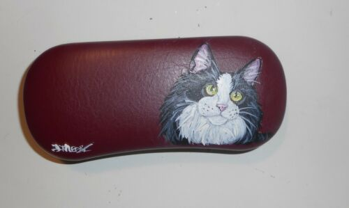 Maine Coon Tuxedo Cat Hand Painted Eyeglass Glasses Burgundy Hard Case
