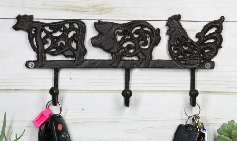 Cast Iron Rustic Cow Pig And Chicken With Scroll Filigree Art 3 Peg Wall Hooks