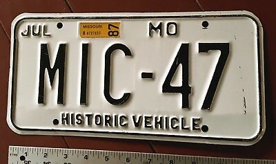 MISSOURI - 1987 HISTORIC MOTOR VEHICLE license plate, non reflective white.
