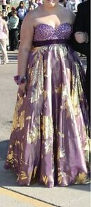 Beautiful purple & gold prom dress
