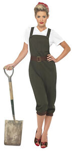 Ladies Womens WW2 Army Land Gril Darling 40s Fancy Dress Costume