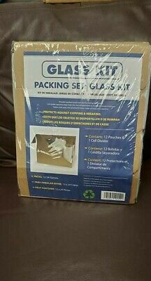 Glass Pack Kit Packing Storage Moving Supplies 12 Divider Pouches Cushion New