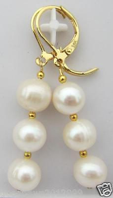 HOT AAA 9-10mm PERFECT SOUTH SEA WHITE PEARL EARRINGS 14K SOLID GOLD MARKED