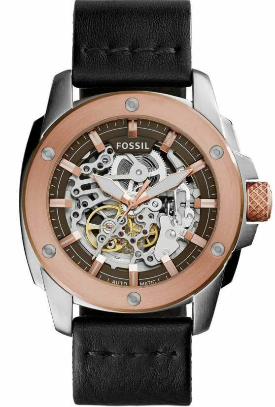 Fossil Men's ME3082 Rose Gold Leather Automatic Watch