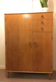 1960s Oak Gentleman's Wardrobe/Dresser by Meredew. Vintage/Retro/Mid Century