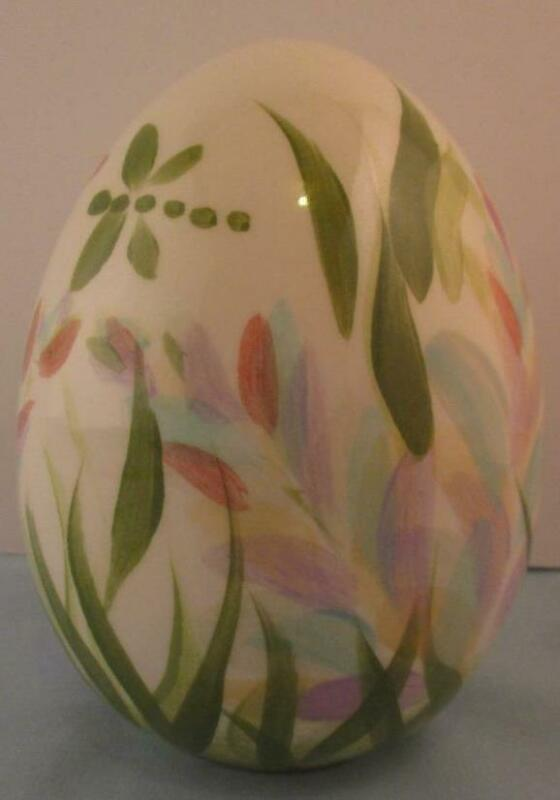 "RARE Signed Gail Pittman Large Floral Egg 5"" With Dragonflies Pastels"