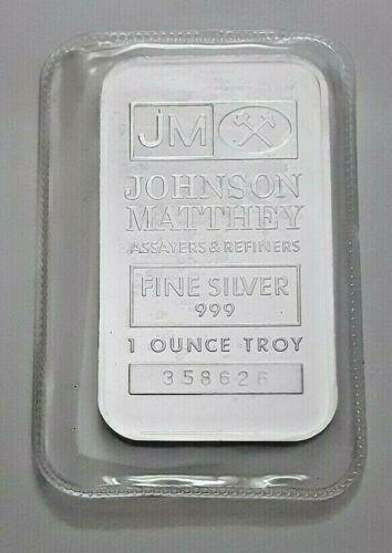 JOHNSON MATTHEY 1 OZ .999 FINE SILVER BAR SEALED