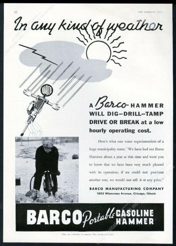 1937 Barco jack hammer gasoline hammer demolition photo trade print ad 2