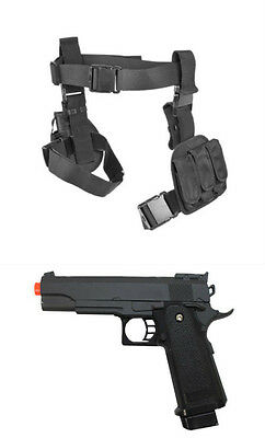 Halloween 3Pc Drop Leg Pistol Gun Holster Magazine Pouch w Prop Gun Black CV2908](Leg Gun Holster Halloween)