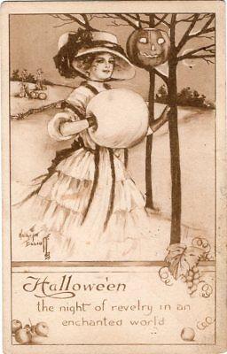 ARTIST SIGNED, KATHRYN ELLIOT, BLACK & WHITE, PUBLISHER GIBSON ART Co. ](Elliot Halloween)