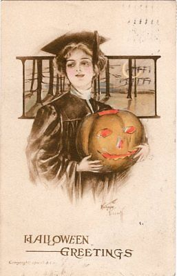 ARTIST SIGNED, KATHRYN ELLIOT, PAINTED, PUBLISHER GIBSON ART Co. GRADUATION](Elliot Halloween)