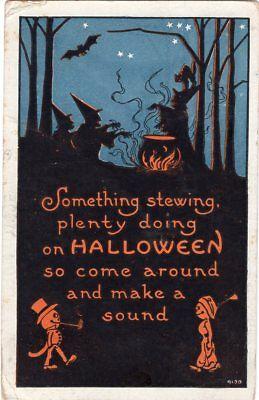 POSTALLY USED AMITYVILLE OCT. 31st 1910, BERGMAN, HALLOWEEN POSTCARD SERIES 9120](Oct 31st Halloween)