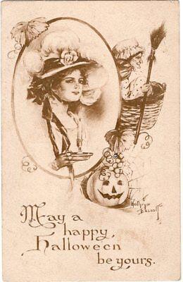 ARTIST SIGNED, KATHRYN ELLIOT, BLACK & WHITE, PUBLISHER GIBSON ART Co.](Elliot Halloween)