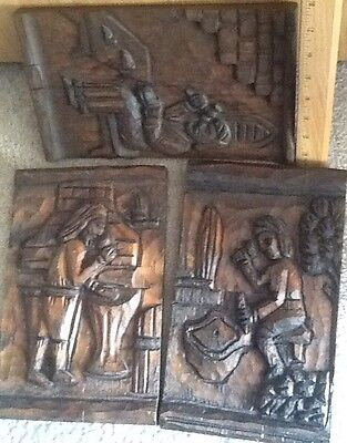 Set Of 3 Handcarved And Stained Folk Art On Wood about Domestic Early Life