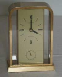 Vintage Linden Westminster Brass/Glass Tabletop Clock- Chime Works & Looks Good