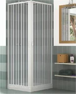 Mampara ducha en pvc con apertura angular con dos puertas for Mamparas de ducha 80x80