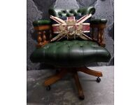 Stunning Chesterfield Vintage Captains Chair in Green Leather - UK Delivery