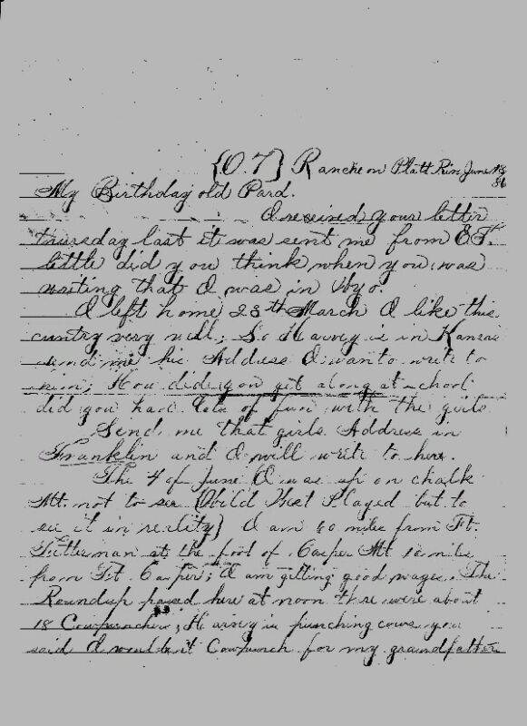 O.T. RANCH on Platte River, WYOMING LETTER 1896 - Transcribed
