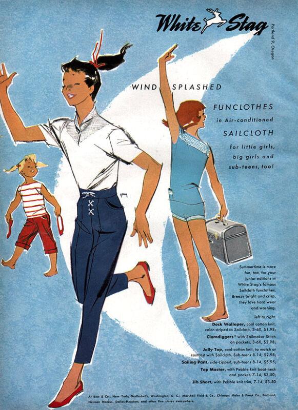 White Stag Sailcloth Fashions SAMSONITE LUGGAGE Wellington Sears 5-page Ad 1957