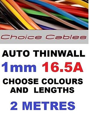 2M 1mm 12V AUTO CABLE,CAR LOOM WIRE,  THINWALL AUTOMOTIVE 16A, 1.0mm 2 METRES
