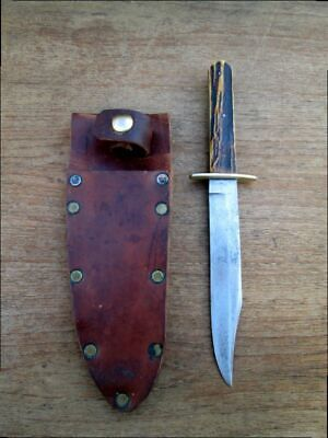 BEAUTIFUL Antique Jos. Allen & Son Sheffield NONXLL Bowie Hunting Knife w/Stag