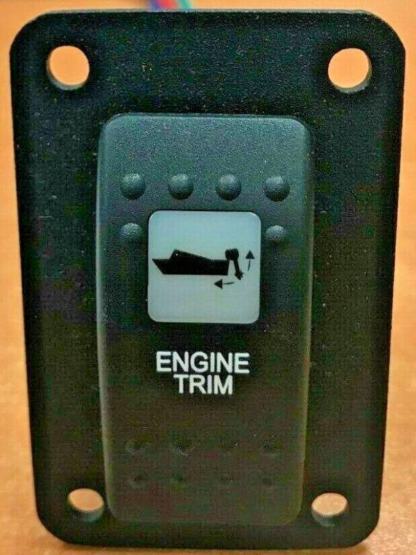 ENGINE TRIM TILT SWITCH V8D1A60B PSC11B BLK WHT LENS LIGHTED WIRED JACK PLATES