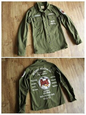 RARE! VTG US ARMY MILITARY SOUVENIR Embroidered + patch OG-108 WOOL SHIRT jacket