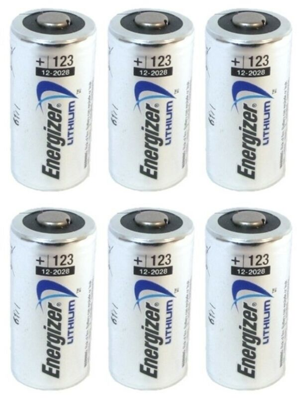 6 NEW Energizer 3V Lithium CR123A Batteries for Camera, Flashlight etc EXP 2030