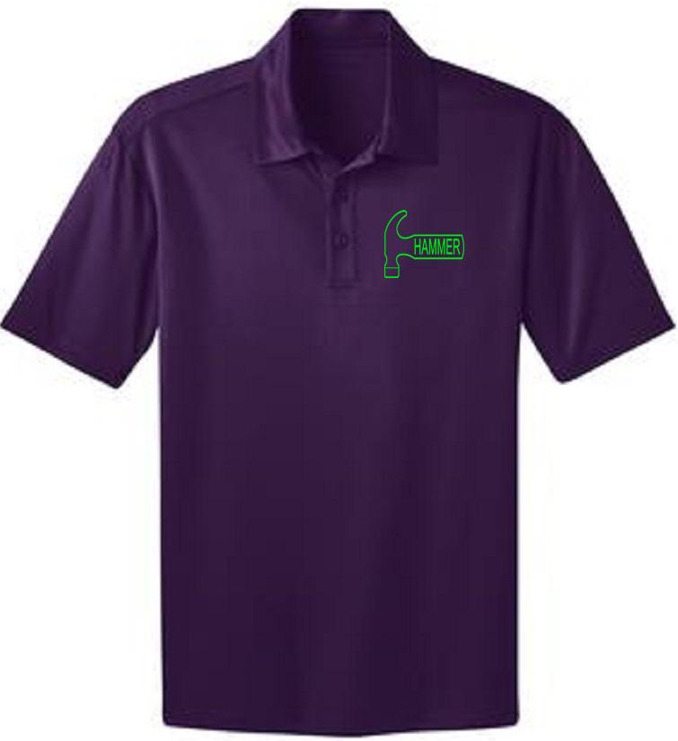 Hammer Men's Big Deal Performance Polo Bowling Shirt Dri Fit Purple