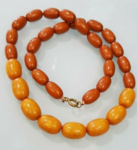 Antique guarantee Bakelite amber beads necklace