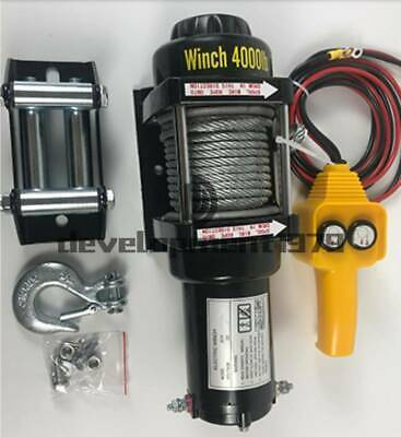 4000lb Electric Winch 24v Atv Towing Truck Trailer Boat Steel Rope Kit