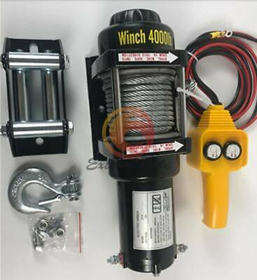 24v 4000lb Electric Winch Atv Towing Truck Trailer Boat Steel Rope Kit