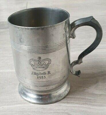 Gaskell Chambers Pewter 1/2 Pint Tankard Stein Queen Elizabeth 1953 James Yates