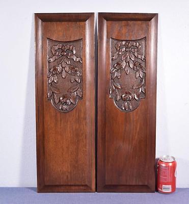 *Pair of Vintage French Louis XVI Carved Panels in Oak Wood Salvage