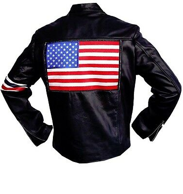 """100% REAL Sheep , Peter Fonda Easy Rider Leather Jacket  """" With US FLAG """""""