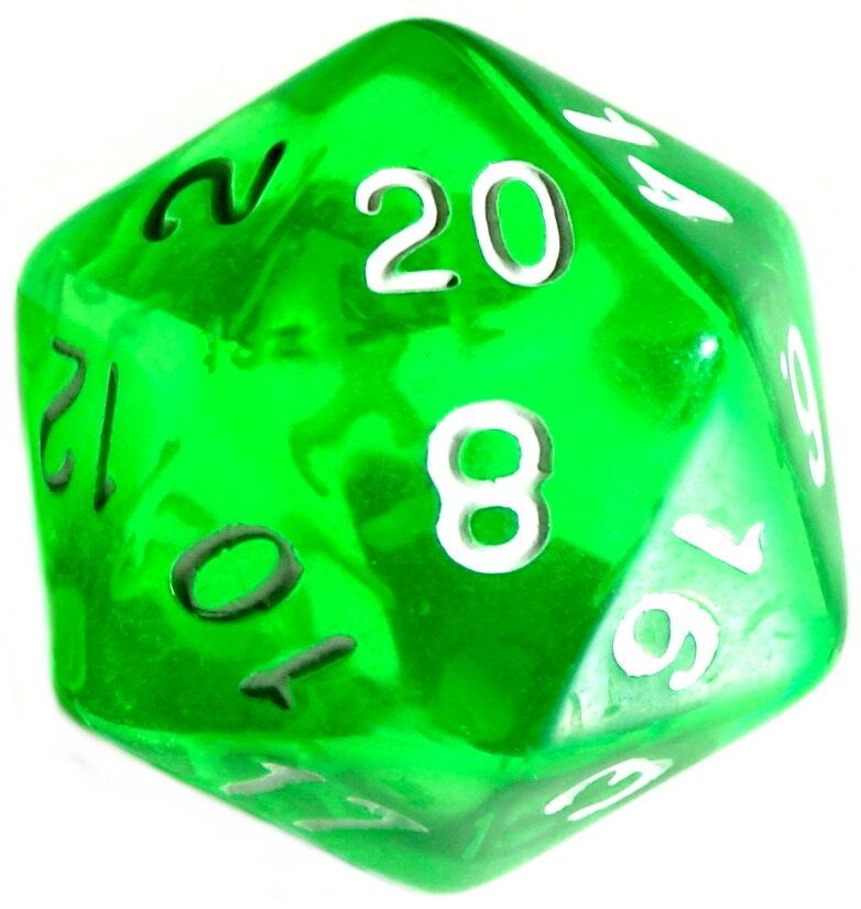10 Stück Grün-Transparente Würfel 20Seitig (1-20) D20/W20/Knobeln/Spiele-Zubehör