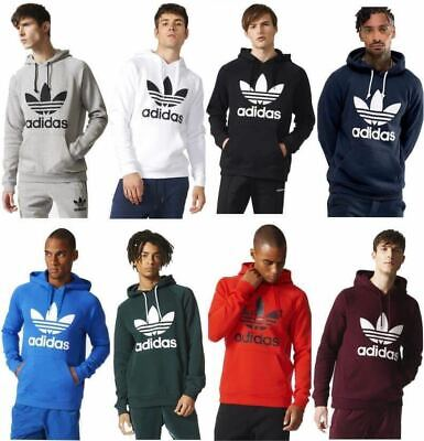 Men's Adidas Original Trefoil Hoodie Fleece Sweatshirts Jumper Pullover S M L XL