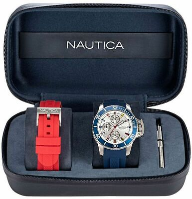 Men's Nautica Bayside Boxset 45mm Silicone Band Watch NAPBSP901