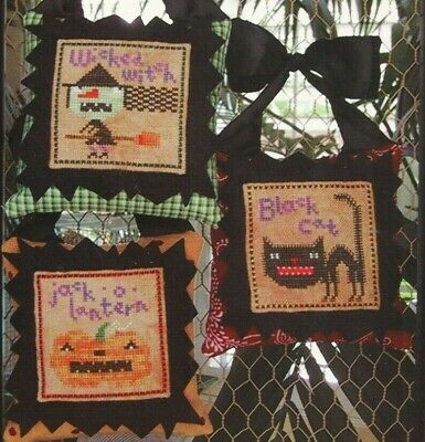 HALLOWEEN ICONS--Witch-Black Cat-Pumpkin-3 Designs--Counted Cross Stitch Pattern - Halloween Icons