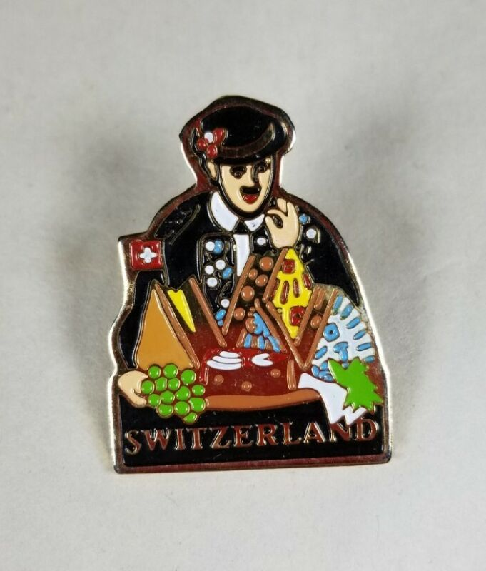 Switzerland Lapel Hat Pin Badge Souvenir Man with a Cheese Tray Colorful Cute