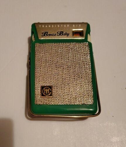 Rare Bonus Baby Mini Transistor Radio, Bright Green & Red Casing