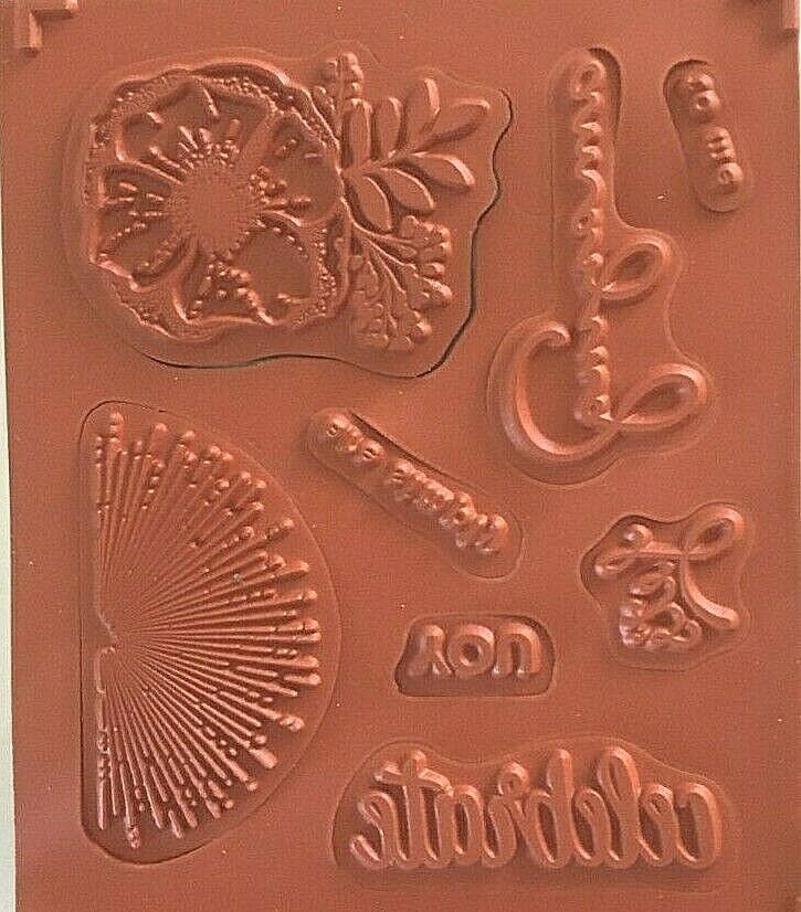 Stampin Up Amazing You Red Rubber Stamp Set Of 8 - Retired - $9.99