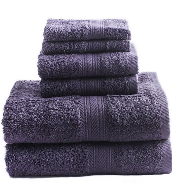 New Purple 6 Piece Bath Towel Set Hand Towels Washcloths 100