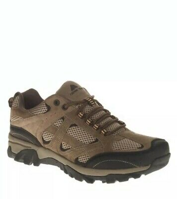 NEW Ozark Trail Men's Vented Low Hiking Shoes Khaki Leather Flexible