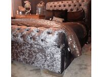 Silver crushed velvet roll top double (4ft6) bed