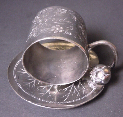 ANTIQUE SILVER PLATE NAPKIN RING LILY PAD FLOWER OR CUP & SAUCER - MERIDEN