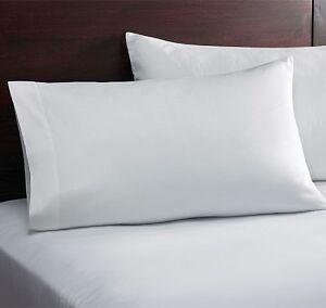 LOT OF 6 COTTON BLEND T250 WHITE KING SIZE HOTEL LINEN PILLOW CASES BULK, 20X40