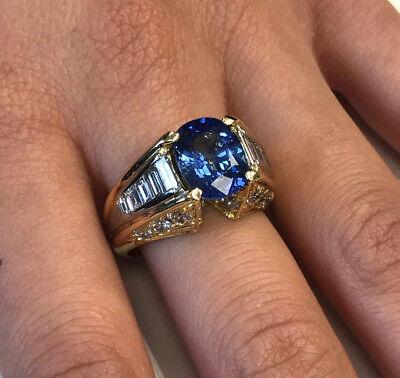 3.70ct GIA Blue Oval Sapphire w 2.70ctw Diamonds in Two-Tone 18k Gold Ring Blue Sapphire Two Tone Ring
