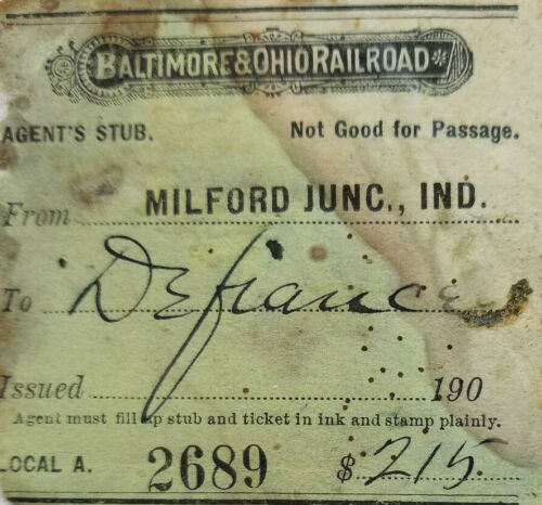 B&O 1907 Baltimore Ohio Railroad Train Agent Ticket Milford to Defiance Indiana